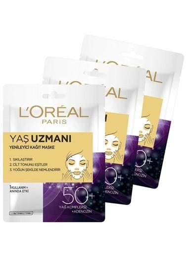 L'Oréal Paris Parıs Yaş Uzmanı 50+ Yenileyici Kağıt Yüz Maskesi 3 Adet Renkli